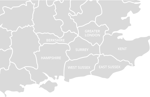 Berkshire, Hempshire, Surrey, West Sussex, East Sussex, Greater London and Kent